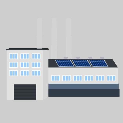 Ilustración de planta industrial con paneles solares